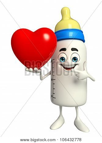 Baby Bottle Character With Red Heart