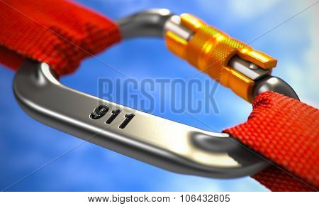 911 Concept on Chrome Carabiner Hook.