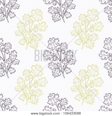 Hand drawn cilantro branch stylized black and green seamless pattern