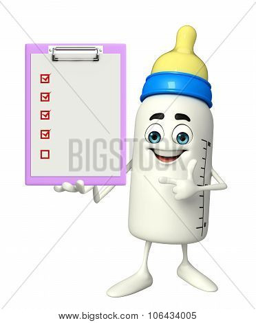 Baby Bottle Character With Notepad