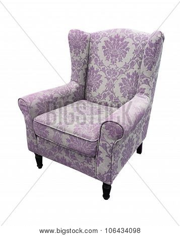 Armchair Purple Flower Pattern On Fabric Isolate On White Background, Clipping Path