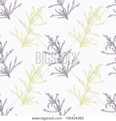 Hand drawn tarragon branch stylized black and green seamless pattern