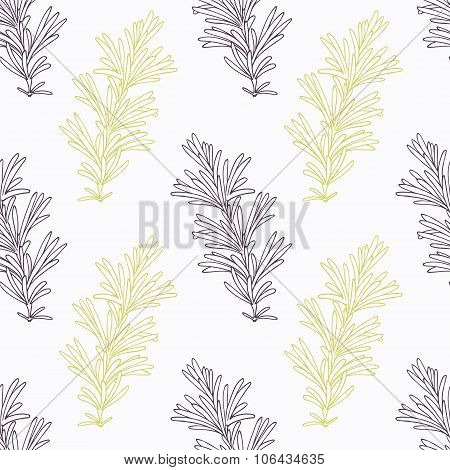 Hand drawn rosemary branch stylized black and green seamless pattern