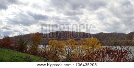 Panoramic Overcast Fall or Autumn Landscape