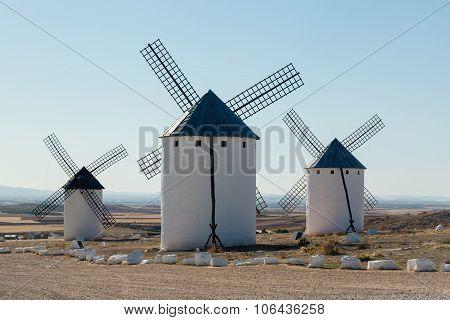 Three Windmills At Campo De Criptana La Mancha, Spain
