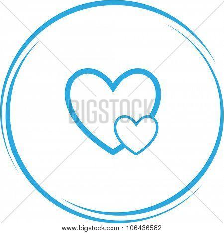 careful heart. Internet button. Vector icon.