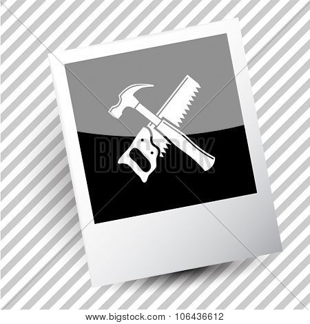 hand saw and hammer. Photo frame. Vector icon.
