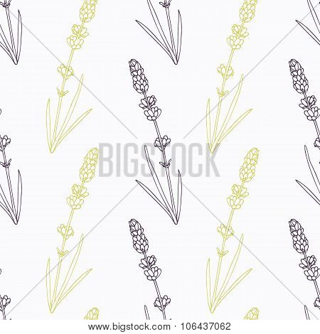 Hand drawn lavender branch stylized black and green seamless pattern