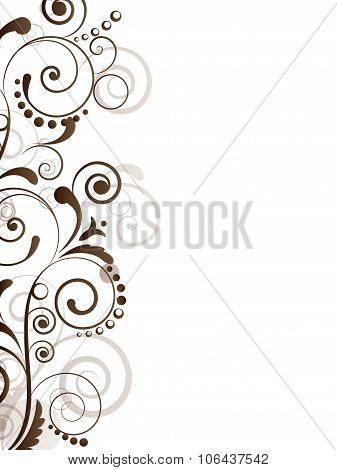 Ornamental border with floral elements and swirls