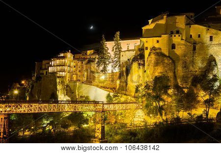 Night Shot Of Cuenca In Castilla-la Mancha, Spain