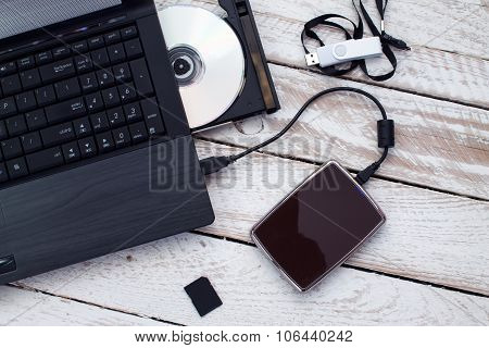 Laptop with pendrive, SD Card, CD and portable Hard Drive.