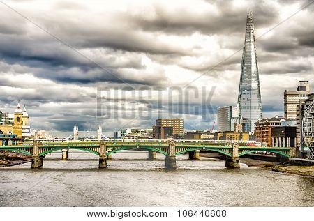 River Thames, Bridges And The Shard, London