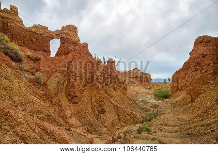 Amazing View Of Canyon Of Bright Orange Color In Tatacoa Desert