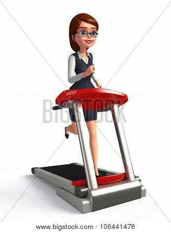 Young Office Girl With Walking Machine