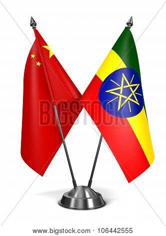 China and Ethiopia - Miniature Flags.