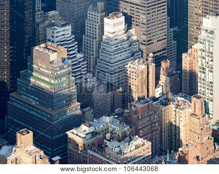 Aerial view of the urban landscape of New York City
