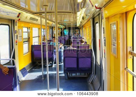 PARIS - SEPTEMBER 10, 2014: interior of Paris Metropolitain train. The Paris Metro or Metropolitain is a rapid transit system in the Paris Metropolitan Area