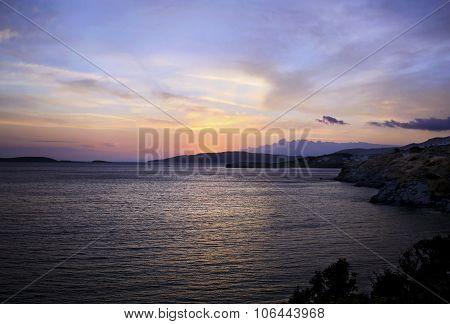 sunset in Aegean sea Greece