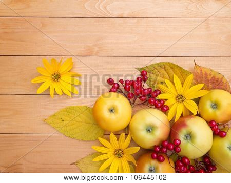 Apples, Yellow Flowers, Red Viburnum Berries And Fall Leaves