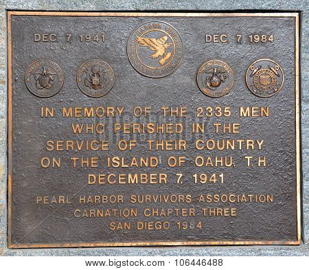 Plaque to the Pearl Harbor Survivors Association