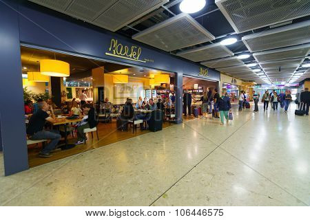 GENEVA, SWITZERLAND - SEPTEMBER 11, 2014: interior of Geneva Airport. Geneva Airport is the international airport of Geneva, the second most populous city in Switzerland