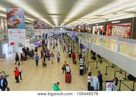 GENEVA, SWITZERLAND - SEPTEMBER 11, 2014: interior of Geneva Airport. Geneva Airport, formerly known as Cointrin Airport, is the international airport of Geneva
