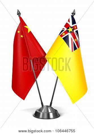 China and Niue - Miniature Flags.