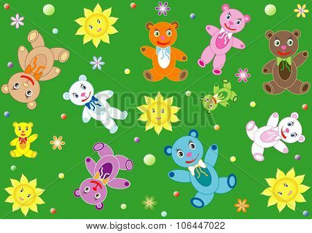Childish background with teddy bears