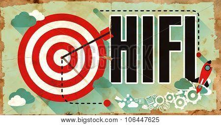 HiFi Word on Grunge Poster.
