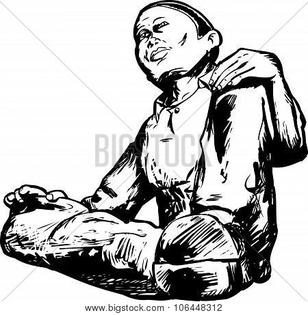 Outline Of Man Sitting
