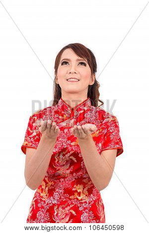 Asian Chinese Girl Blessed In Traditional Chinese, Chinese New Year