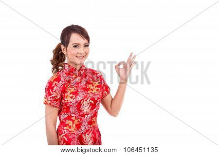 Asian Chinese Girl Greeting In Traditional Chinese , Chinese New Year, Enjoy, Happy, Ok Success