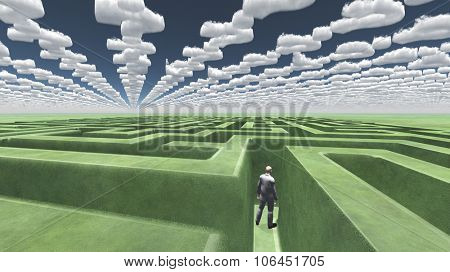 Man in maze with question mark shaped clouds