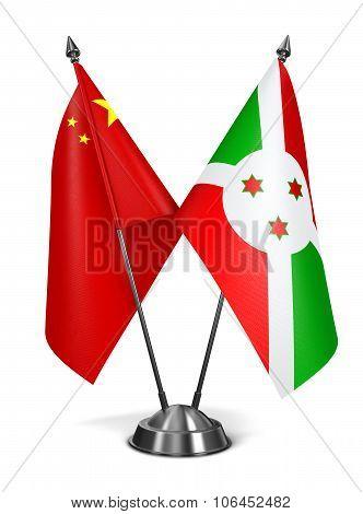 China and Burundi - Miniature Flags.