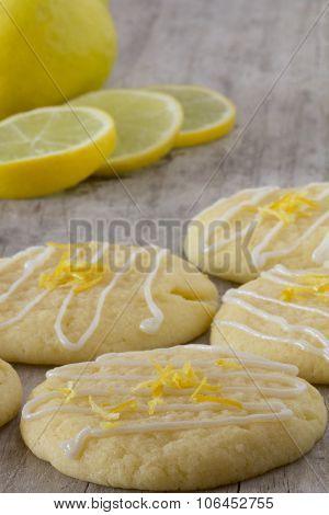 Lemon Cookies on a Platter - Vertical