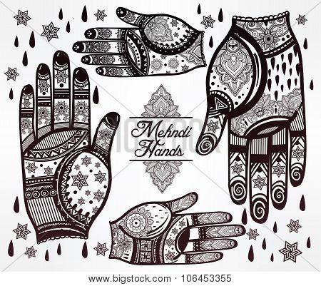 Hands with henna tattoos set illustration.