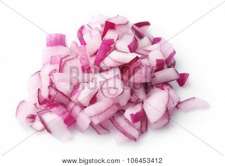 Chopped red onion isolated on white background