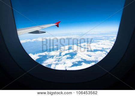 Wing Of Airplane From Plane Window