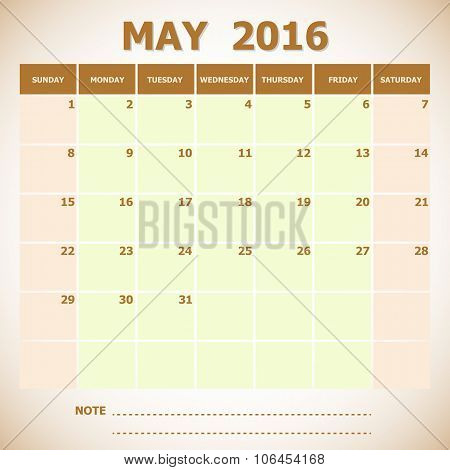 Calendar May 2016 Week Starts Sunday