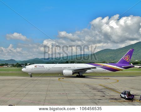 Thai Airways's Boeing 777-3D7 in Chiangmai Airport