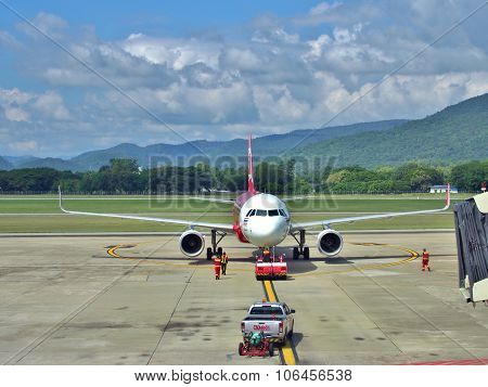 Airasia airplane at Chiang Mai airport