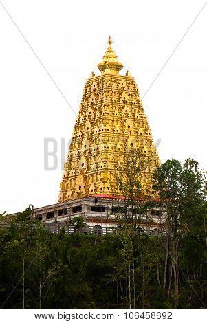 Golden Pagoda At Buddhist Temple In Kanchanaburi Province, Thailand