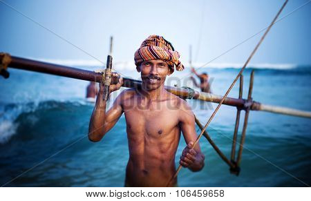 Smiling Fisherman Portrait Cultural Fishing Concept