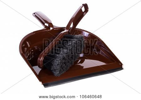 New Broom And Dustpan For Cleaning On White Background