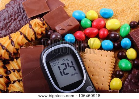 Glucometer With Heap Of Sweets And Cane Brown Sugar, Unhealthy Food