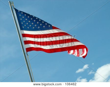 USA Flag Blue Sky