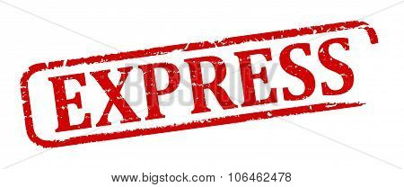 Damaged Oval Red Stamp With The Words - Express - Illustration