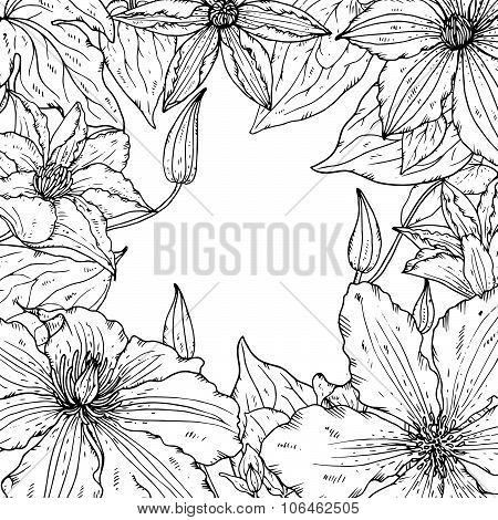 Vector frame with beautiful clematis flowers for greeting card or wedding invitation.
