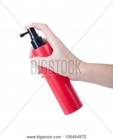 Hair Spray Red Bottle Isolated On White Background, Pressing The Hand Of Man.