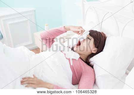 Sick Woman Caught Cold